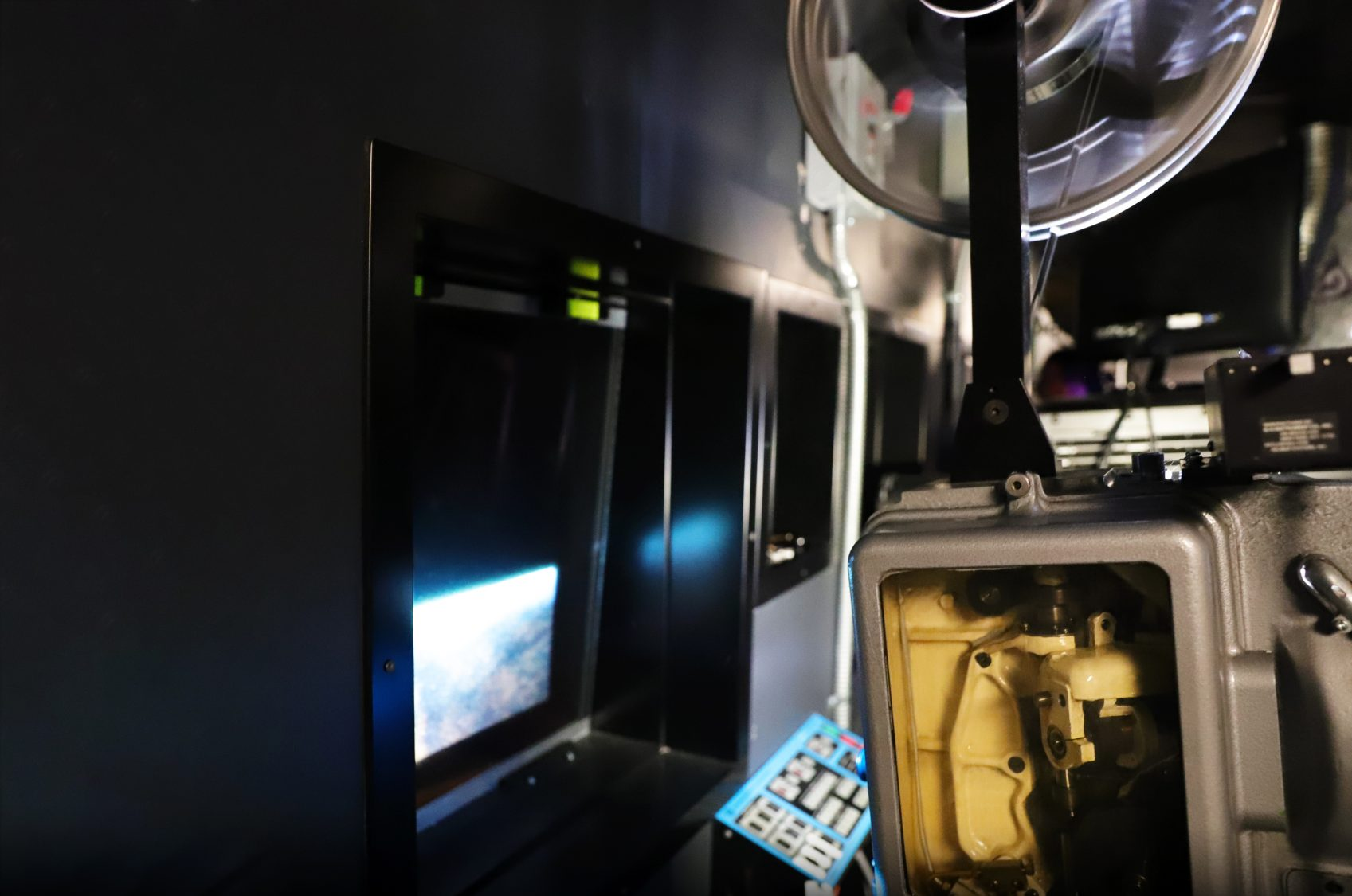 inside the projection booth at bmfi