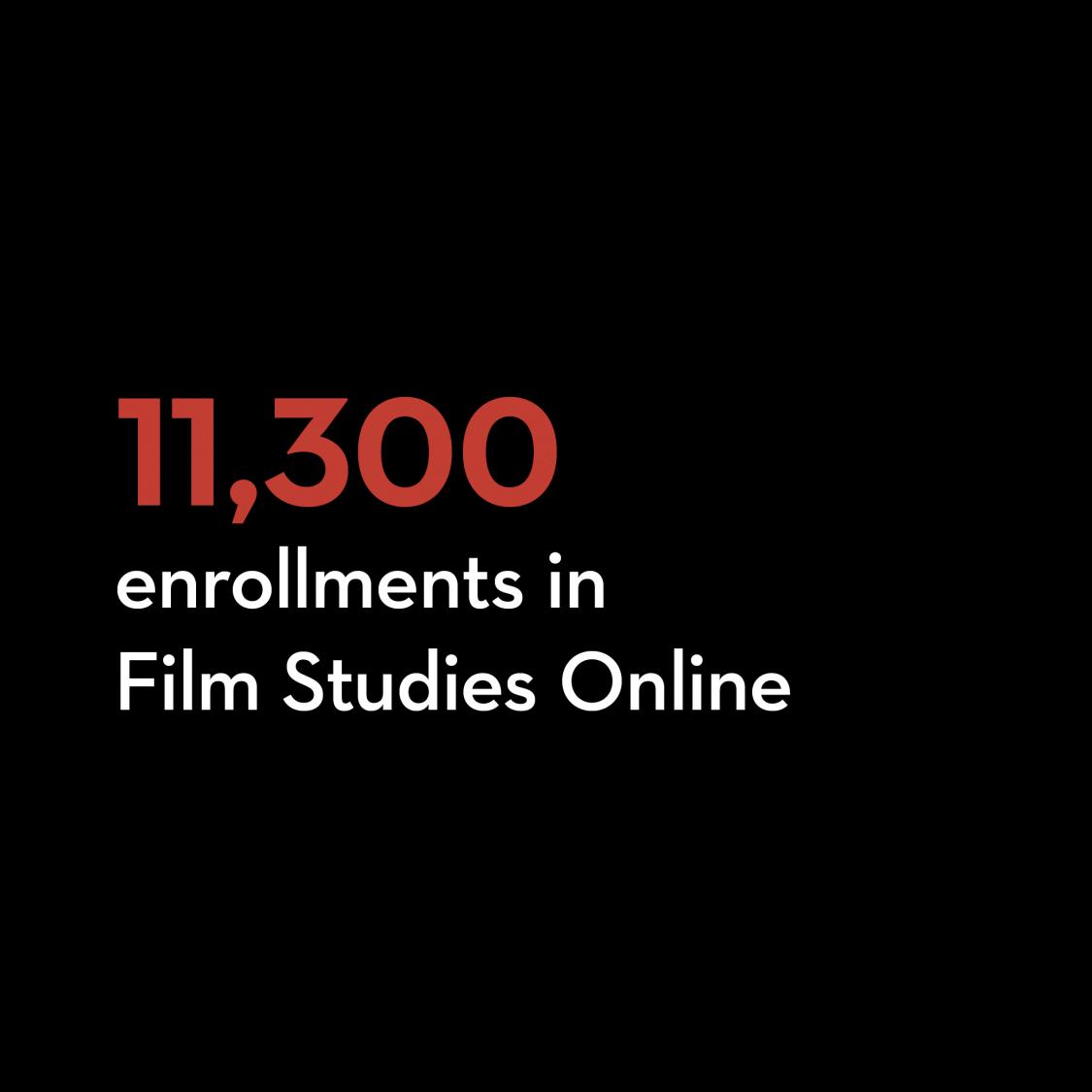 11,300 enrollments in Film Studies Online